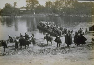 A 1908 reenactment of Thomas Hooker's 1636 landing in Hartford