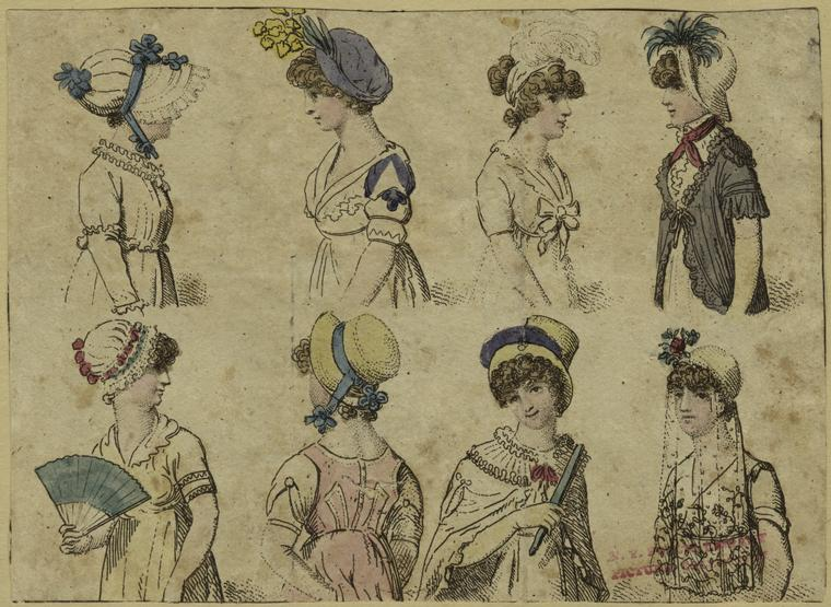 Hats and bonnets, ca. 1805