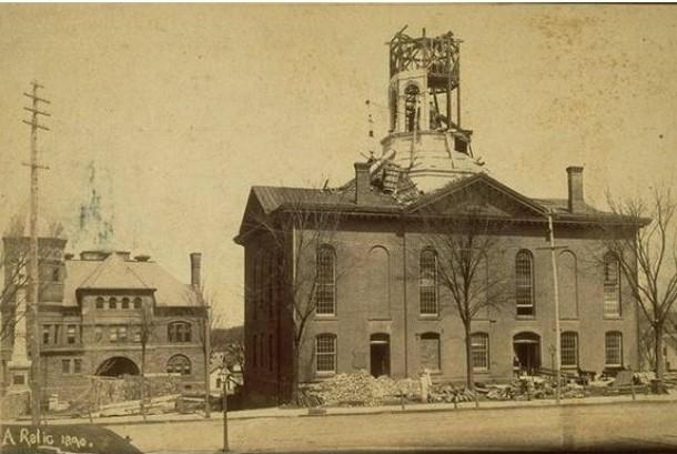 Meriden town hall during renovation, 1890