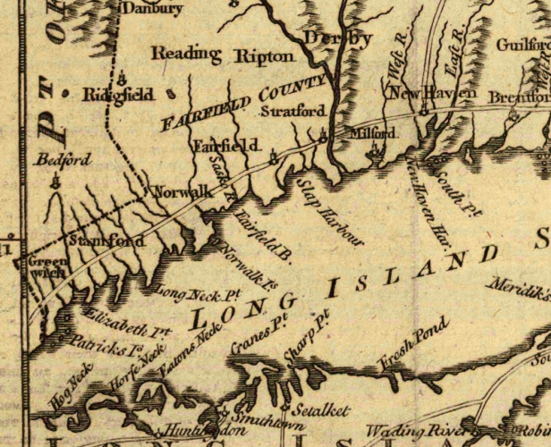 Detail from a map of Connecticut and Rhode Island, with Long Island Sound, 1776