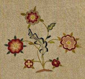 Detail of a bed curtain attributed to Priscilla Kingsbury
