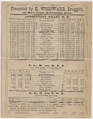 Connecticut Valley R. R. schedule