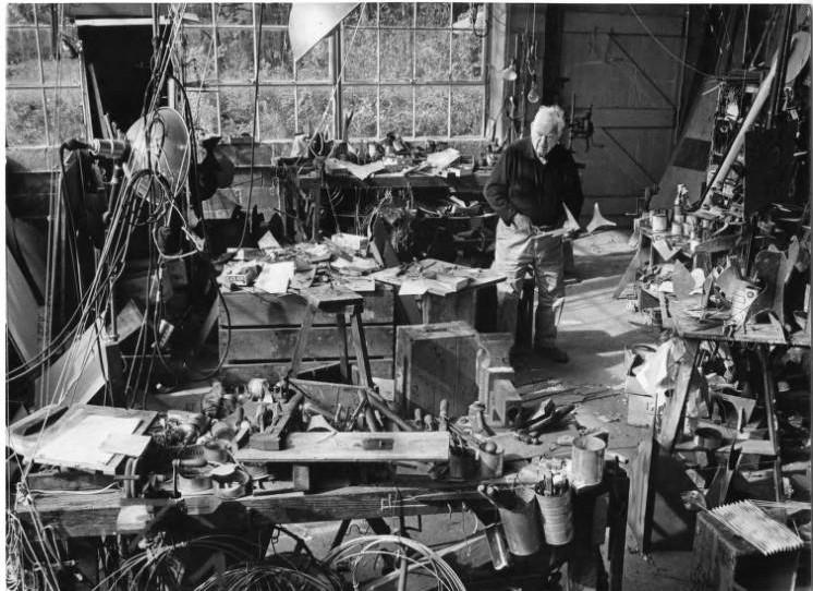 Alexander Calder in studio, Roxbury, 1973