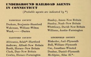 Underground Railroad Agents in Connecticut