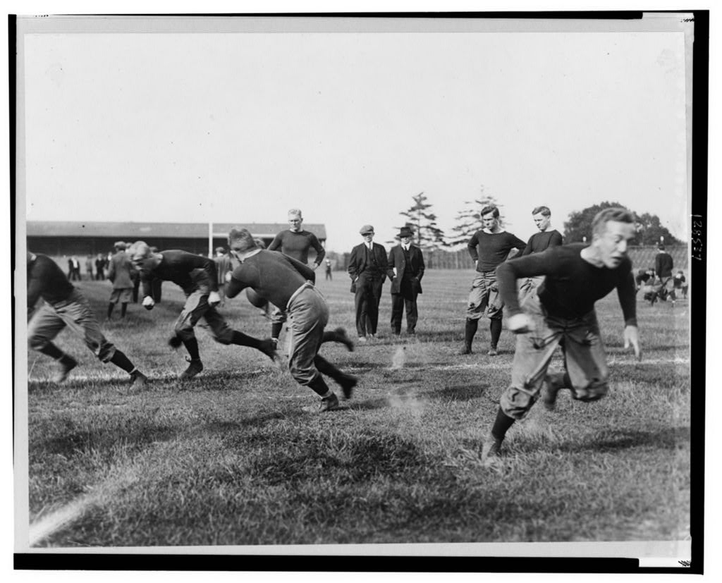 Football practice at Yale University, ca. 1912