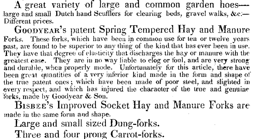 Ad for Goodyear's patented Hay & Manure forks