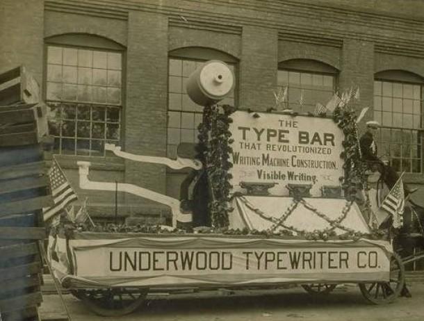 Parade float of Underwood Typewriter Company, Hartford
