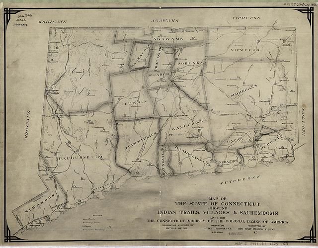 Map of the state of Connecticut showing Indian trails, villages and sachemdoms
