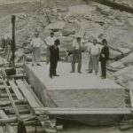 Workmen in quarry with stone for Bulkeley Bridge, Branford