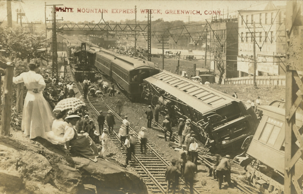 The White Mountain Express, traveling 50 miles per hour went off the track in Greenwich