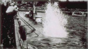 Training and rescue submarine S-4 submerging