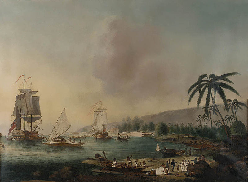 HMS Resolution and Discovery in Tahiti