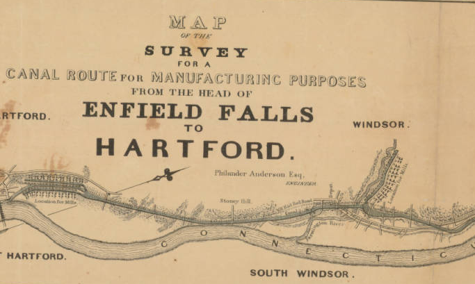 Detail from a Map of the survey for a canal route for manufacturing purposes from the head of Enfield Falls to Hartford