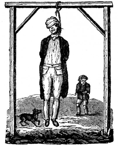 An illustration from A Sketch of the life, trial, and execution of Oliver Watkins