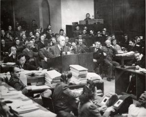Thomas Dodd (at podium), Nuremberg trial, ca., 1945-46