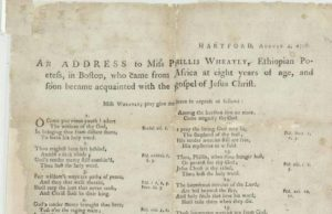 "Detail from the broadside an ""Address to Miss Phillis Wheatly"" composed by Jupiter Hammon"