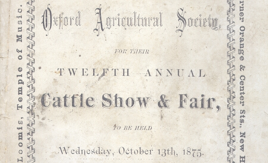 Oxford Agricultural Society Premium List, Oxford Agricultural Fair 1875