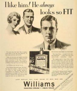 Williams Shaving Cream and Aqua Velva ad, ca. 1929