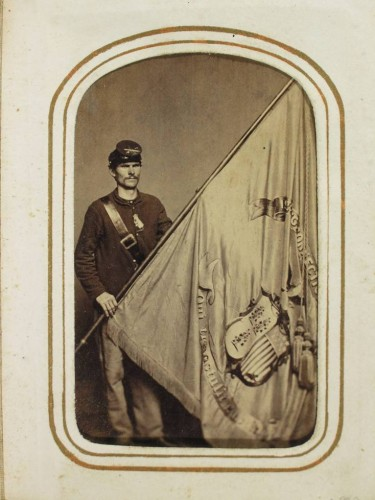 Corporal Thomas Fox , Second Connecticut Volunteer Heavy Artillery, B Company with his regimental flag