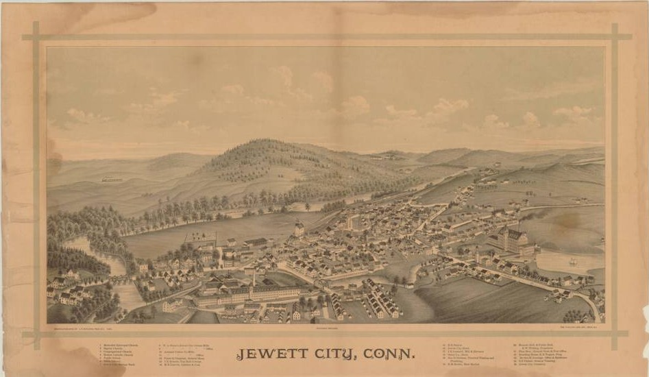 Jewett City, Conn, bird's-eye map by Lucien R. Burleigh