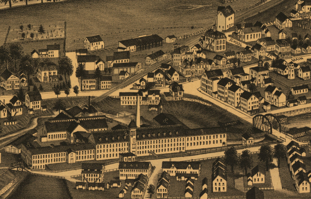 Detail of the W.A. Slater's Jewett City Cotton Mills in the foreground from Jewett City, Conn, bird's-eye map by Lucien R. Burleigh