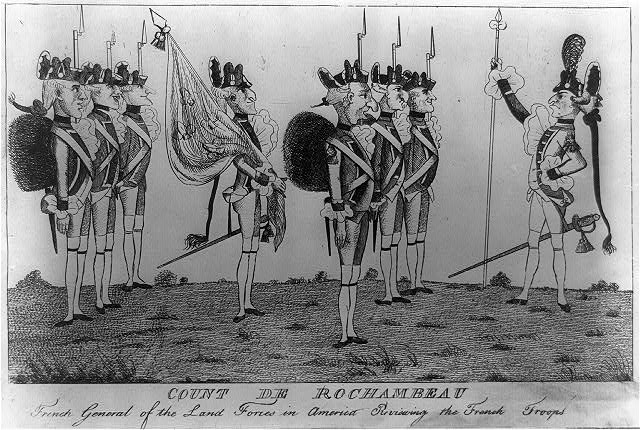 Count de Rochambeau - French general of the land forces in America reviewing the French troops