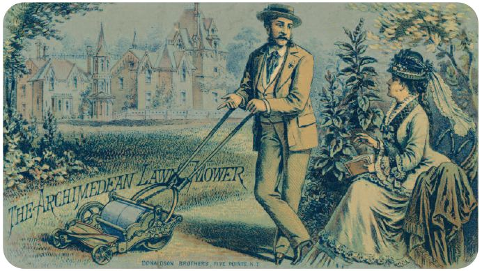 Trade card for Hill's Archimedean Lawn Mower Co