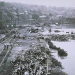 Flood damage to railroad tracks, Derby, 1955