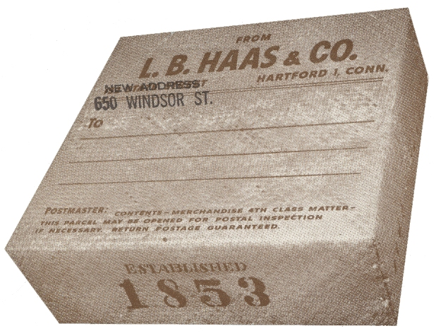 L. B. Haas & Company address label, 1958