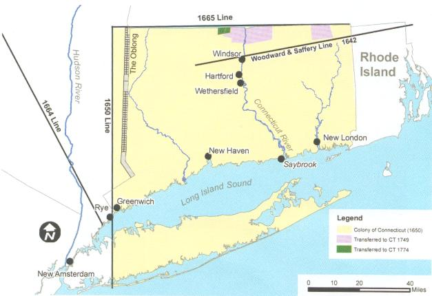 Map of changing Connecticut's boundary lines