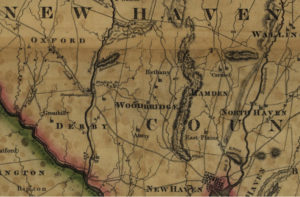 Detail of Bethany area from Map of Connecticut, from actual survey by Moses Warren, 1811