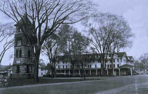 Clock tower and Sharon Inn, Sharon, ca. 1930s