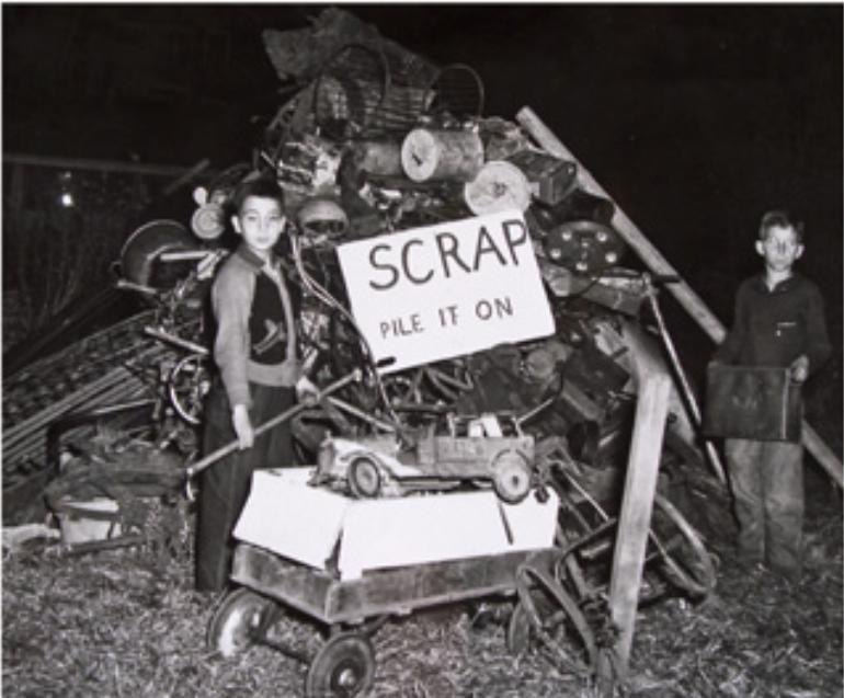 World War II scrap metal drive, Hartford, ca. 1941-1944