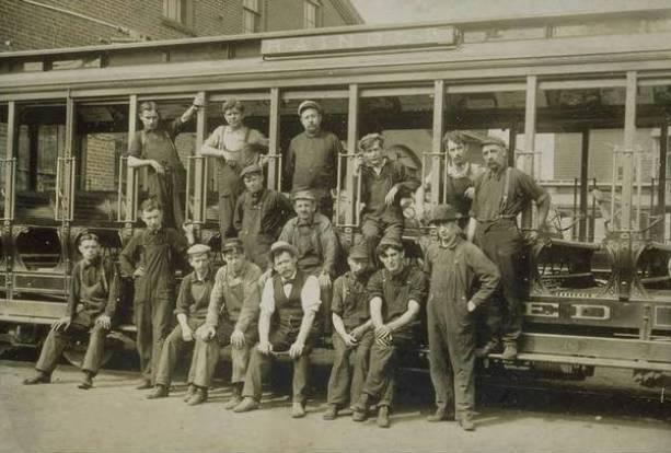 Hartford Street Railway Company Electricians, ca. 1907. Electrifying the railroad created new jobs