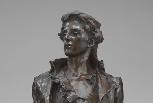 Detail of Nathan Hale bronze sculpture by Frederick William MacMonnies