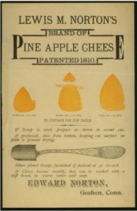 Broadside for Pine Apple cheese patented in 1810