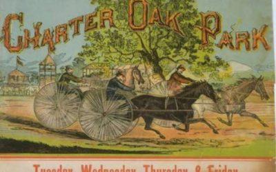 Advertisement for harness racing at Charter Oak Park, West Hartford