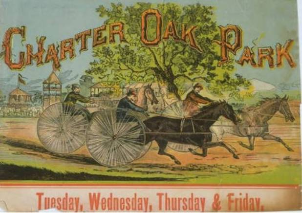 Advertisement for harness racing at Charter Oak Park, West Hartford