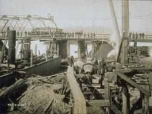 Work on foundation of the Bulkeley Bridge