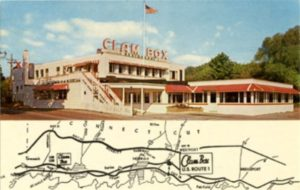 The Clam Box, postcard by Cliff Scofield, ca. 1950s