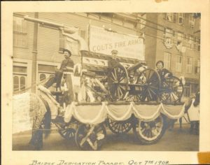 The Colt's Manufacturing Company float for the parade dedicating the Bulkeley Bridge, October 7th, 1908