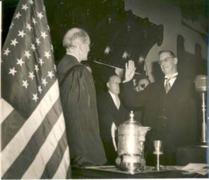 James Lukens McConaughy sworn in as Governor by Chief Justice William M. Maltbie