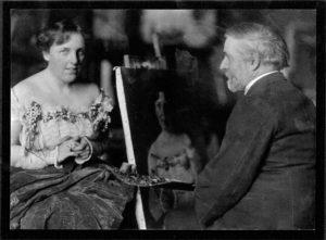 Theodate posing for painter Robert Brandegee in 1902