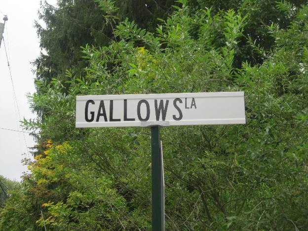 Street sign for Gallows Lane