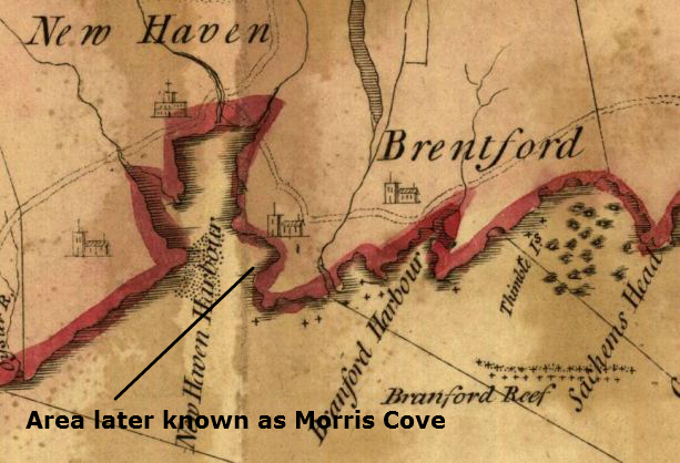 Detail from the map Colony of Connecticut in North-America by Moses Park