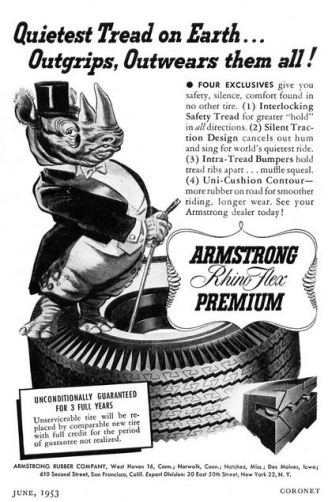 Armstrong Rubber Company ad, June 1953