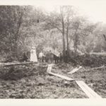 Discovery of mastodon bones on the farm of Ms. Theodate Riddle