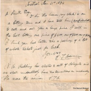 Early letter penned by P.T. Barnum referencing his lottery