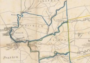 Detail of Map exhibiting the route of the Norwich & Worcester Railroad
