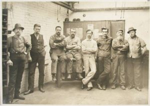 German American workers from the buff room